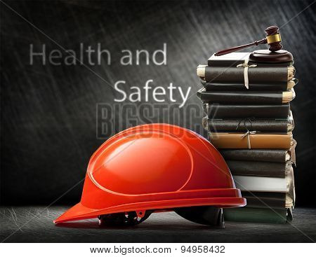 Red Safety Helmet On Steel