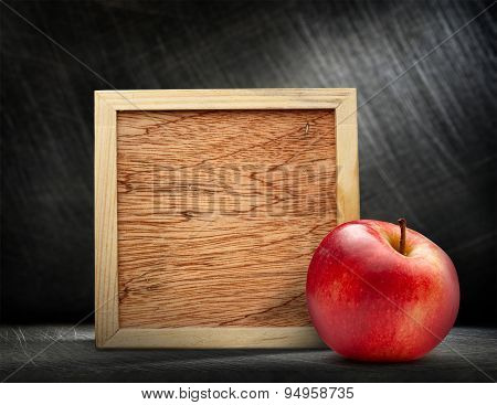 Red Apple With Wooden Frame