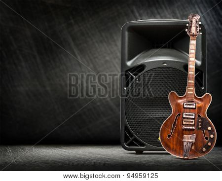 Old Electric Guitar Vertical