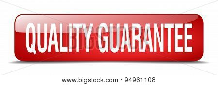 Quality Guarantee Red Square 3D Realistic Isolated Web Button