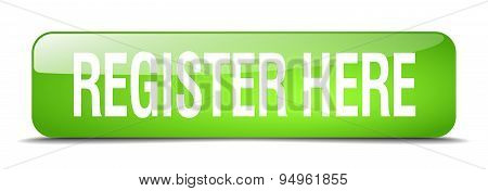 Register Here Green Square 3D Realistic Isolated Web Button