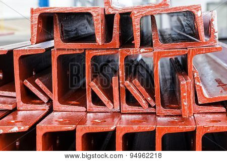 Close Up Heap Of U Shape Beam Steel In Factory Shelf