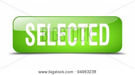 Selected Green Square 3D Realistic Isolated Web Button