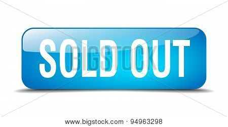Sold Out Blue Square 3D Realistic Isolated Web Button