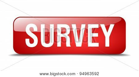 Survey Red Square 3D Realistic Isolated Web Button