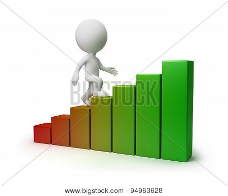 3d small person going upwards under the schedule. 3d image. Isolated white background.