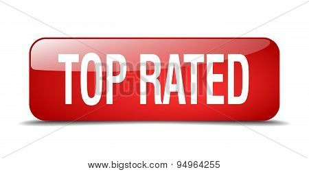 Top Rated Red Square 3D Realistic Isolated Web Button