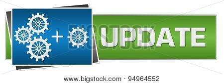 Update With Gears Green Blue Horizontal