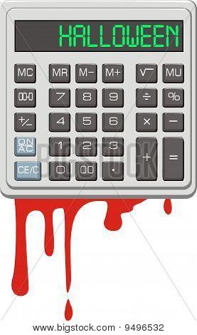 Halloween. Calculator and blood.