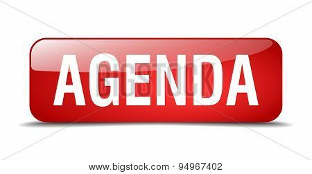 Agenda Red Square 3D Realistic Isolated Web Button