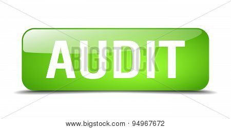 Audit Green Square 3D Realistic Isolated Web Button