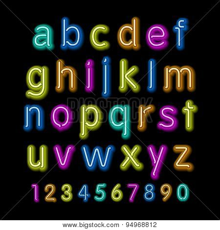 Neon Glow Alphabet. Vector Design Party Retro 3D Art Neon Font,