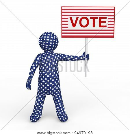3d man holding voting placard