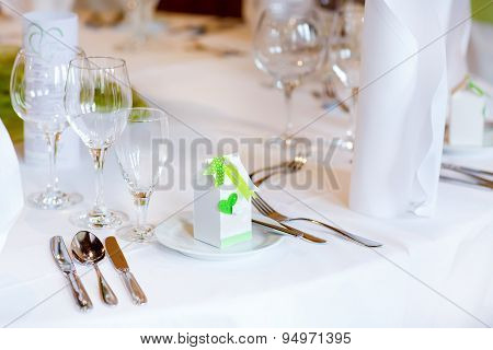 Table Set In Green And White For Wedding Or Event Party.