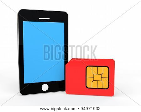 3d cellphone and SIM card