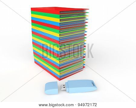 3d stack of folders and USB drive