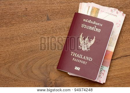 Thailand Passport With Hong Kong  Currency.