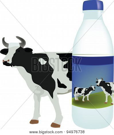 bovine milk with plastic container