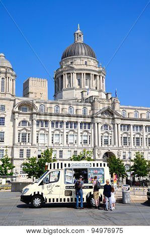 Port of Liverpool building and ice cream van.