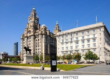 Liver Building and Cunard Building, Liverpool.