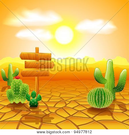 Desert Landscape With Wooden Sign And Cactuses