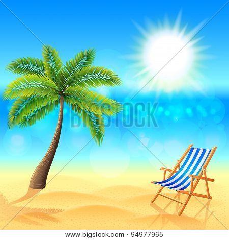 Palm And Deck Chair On Sunny Beach Vector