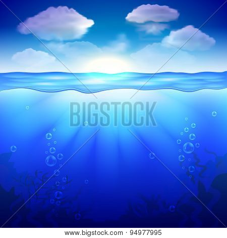 Sky And Underwater Background Vector