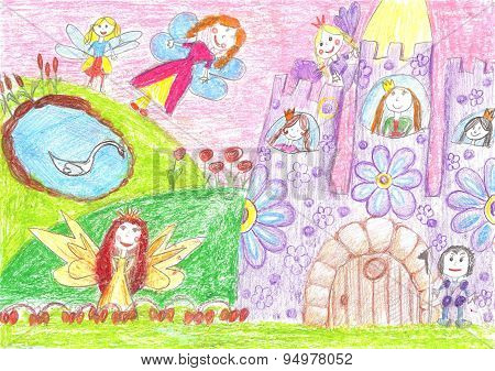 Fairy Of A Tale, Princess, Prince - Children Drawing
