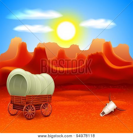 Wild West Landscape With Old Wagon Vector