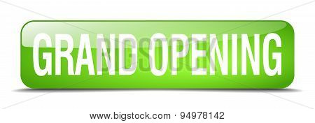Grand Opening Green Square 3D Realistic Isolated Web Button