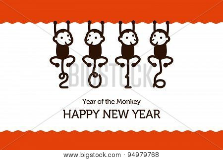 New Year Card With Monkeys
