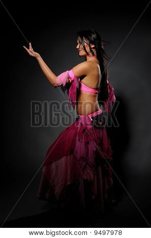 Beautiful Sexy Dancer Woman In Bellydance Costume With Pretty Professional Stage Make-up