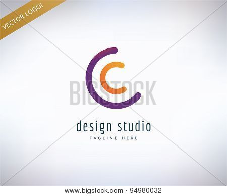 Abstract vector logo elements. Logotype template, arrows, shape, text. Stock illustration for design
