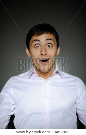 Expressions Handsome Business Man In White Shirt  Shocked