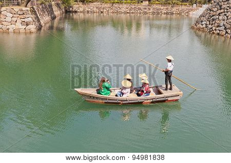 Ride On Traditional Boat In Takamatsu Castle, Japan