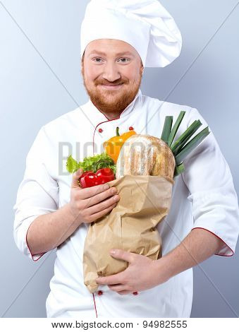 Head-cook holding package with fresh food