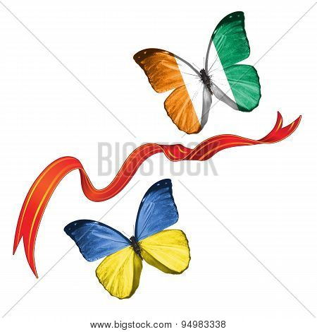 Two butterflies with symbols of Ukraine and Ivory, Coast