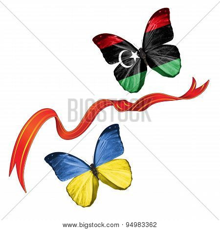 Two butterflies with symbols of Ukraine and Libya