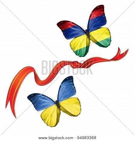 Two butterflies with symbols of Ukraine and Mauritius