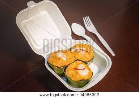 Thai Steamed Fish Curry In Plastic Foam Box