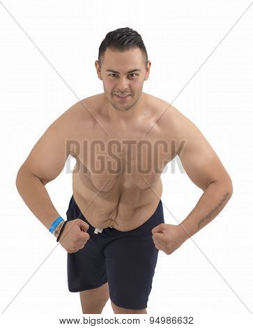 Young Fat Guy Who Lost Weight Isolated