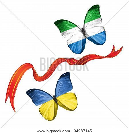 Two butterflies with symbols of Ukraine and Sierra Leone