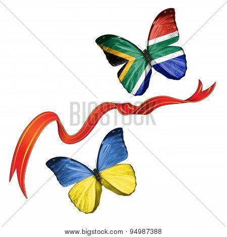 Two butterflies with symbols of Ukraine and South Africa