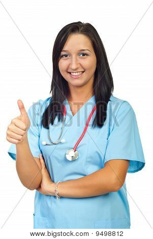Young Physician Woman Give Thumbs