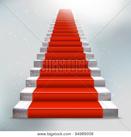 Realistic Stone Ladder With Red Carpet And Light