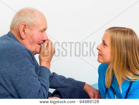 Old Man Having Influenza