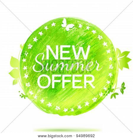 New Summer Offer Green Colors Pencil Drawing Label