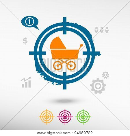 Baby Buggy On Target Icons Background
