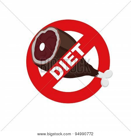 Diet sign logo. Meat forbidden sign. Cross out  ham. Stop food. Vector illustration.