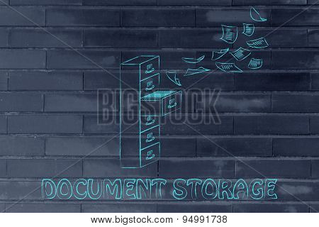File Cabinet With Business Documents Flying, Concept Of Storage